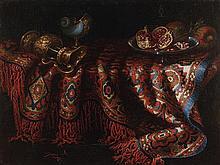 Jacques HUPIN (Actif à Auxerre et à Rome entre 1650 et 1680) Nature morte au tapis Toile 93,5 x 70,5 cm Sans cadre