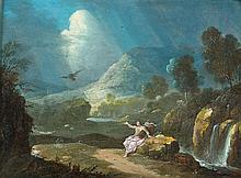 Attribué à Gabriel PERELLE  (1603 - 1677) Saint Luc dans un paysage  Cuivre  15,5 x 22 cm Porte une signature apocryphe en bas à gau...