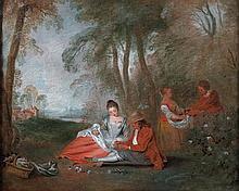 école FRANCAISE du XVIIIe siècle, entourage d'Antoine WATTEAU Pastorale Toile 73 x 94 cm Sur la toile de rentoilage, une ancienne in...
