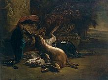 école HOLLANDAISE du XIXe siècle, dans le goût de Jan WEENIX Trophée de chasse au lièvre, au faisan et au paon Toile 97 x 128 cm Res...