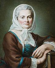 Hubert DROUAIS (Pont Audemer 1699 - Paris 1767) Jeune femme en costume de Savoyarde Toile 61 x 50 cm Restaurations
