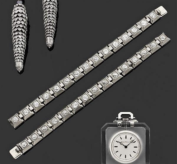 RENé BOIVIN Années 1935 Rare paire de bracelets modèle