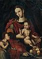 École Flamande de la Fin du XVIème siècle, suiveur de Cornelis Van Cleve LA VIERGE À L'ENFANT ET SAINT JEAN-BAPTISTE AVEC DU RAISIN ...