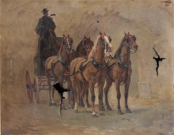 Isidore PILS (Paris 1813 –Douarnenez 1875) Attelage de chasse, (étude pour le retour d'une battue de chasse (n° 89)) Sur sa toile et...