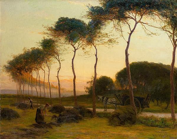 Albert Charles WALLET (Valenciennes 1852 - ? 1918) Paysans fanant au soleil couchant  Toile 82 x 103 cm Signée en bas à droite : Alb
