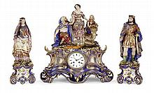 A Paris porcelain three-piece garniture with a clock and two figures, 19th century. HEIGHT. 21 17/64 IN. - LENGHT 16 9/64 IN.