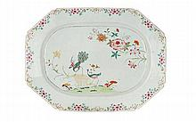 A famille rose chinese export porcelain dish, 18th century. LENGHT. 16 47/64 IN.