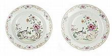A set of two famille rose soup chinese export porcelain plates, 18th century. DIAM. 9 9/64 IN.