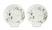 A set of two famille rose chinese export porcelain soup plates, 18th century. DIAM. 9 1/16 IN.