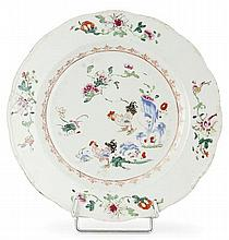 A famille rose chinese export porcelain  plate, 18th century. DIAM. 9 1/16 IN.