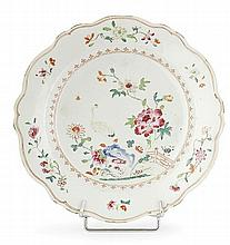 A famille rose chinese export porcelain plate, 18th century. DIAM. 8 15/16 IN.