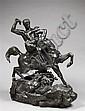 Antoine Louis BARYE (1795-1875) Thésée terrassant le centaure Biénor (2ème réduction) Epreuve en bronze à patine noire nuancée Porte...