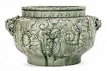 Théodore DECK (1823-1891) Grande vasque cache-pot d'inspiration chinoise, en faïence, corps sphérique aplati sur talon, à décor en b...