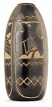 Charles CATTEAU (1880-1966) & KéRAMIS Vase ovoïde élancé en grès, décor, créé en 1925 pour l'Exposition universelle de Paris, représ...