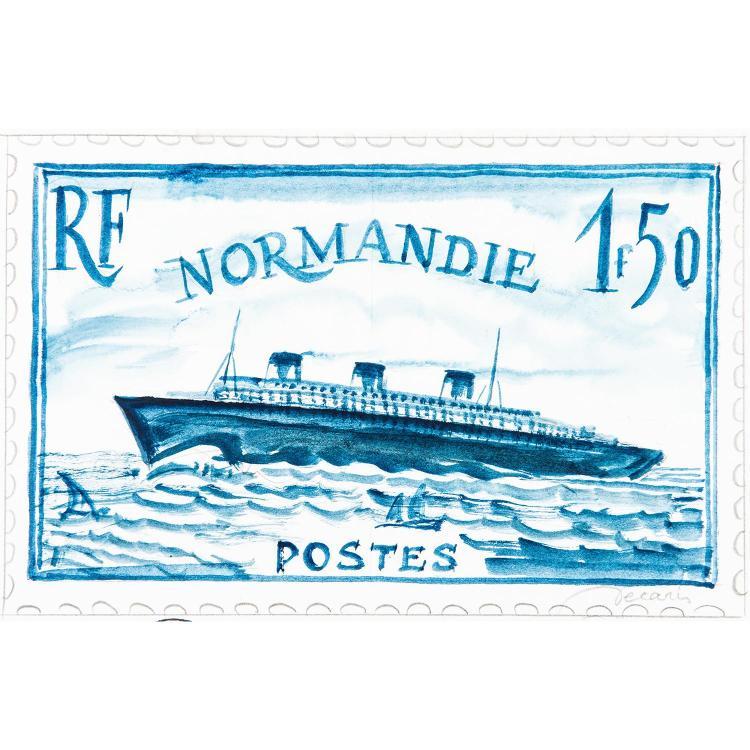 Dessin - Lavis d'encre bleue représentant une variante du timbre, 148 x 230