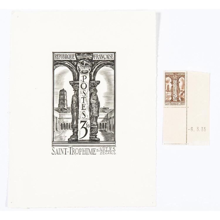 n° 302 - Cloître Saint-Trophime d'Arles (1935) - 4 Dessins à l'encre et au crayon noir dont celui retenu pour le timbre - 9 Épreuves d'