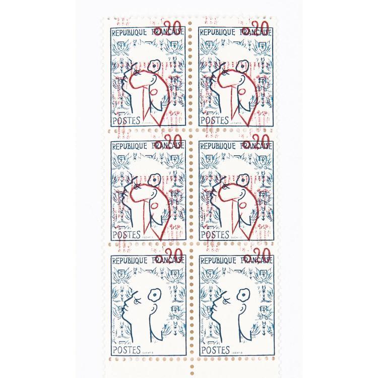 Variétés - Ensemble de 11 variétés d'impression : Bloc vertical de 6 timbres présentant la valeur 0,20 très déplacée vers le haut, une
