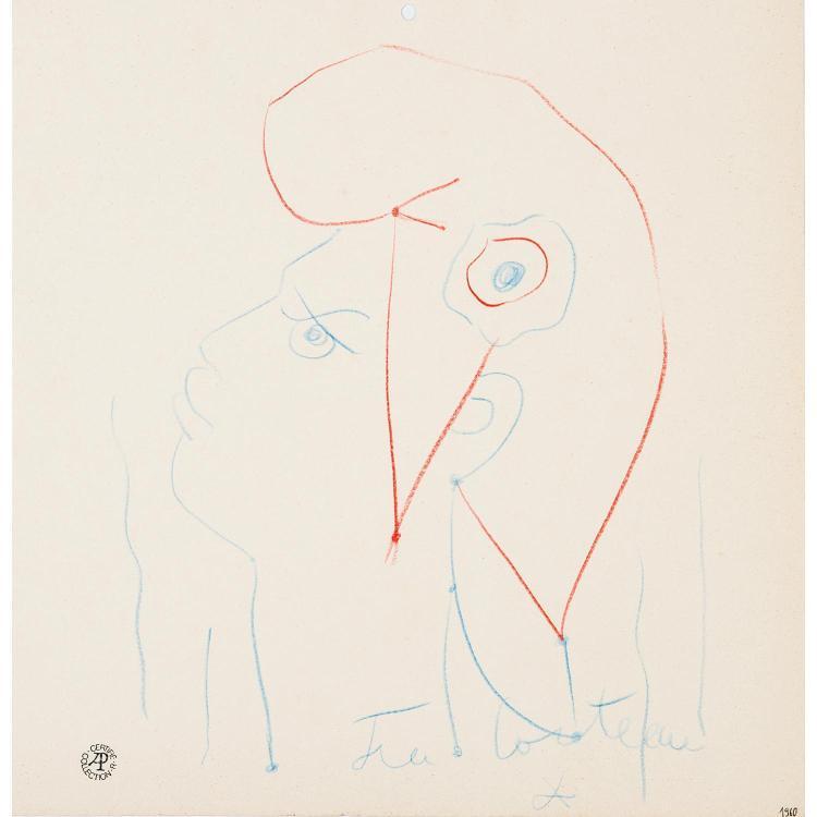 """Dessin - Pastel bleu et rouge représentant le profil de """"Marianne"""" par Jean Cocteau, repris par Albert Decaris pour réaliser le timbre,"""