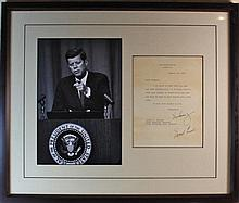 John F Kennedy Typed and Signed Letter