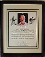 Ronnie Biggs Signed Display (Gt Train Robber)