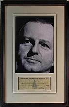 Jack Ruby Signed Cheque Check Display