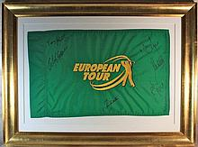 European Golf Tour Signed Flag Dsiplay