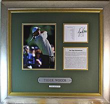 Tiger Woods Signed Score Card Display
