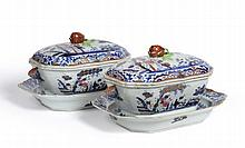 A Pair of Chinese Porcelain Soup Tureens, Covers
