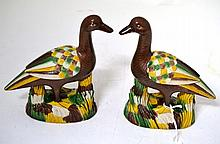 A Pair of Chinese Porcelain Figures of Geese, in