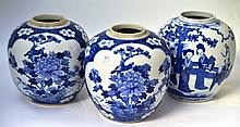 A Pair of Chinese Porcelain Ginger Jars, in Kangxi