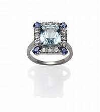 An 18 Carat White Gold Aquamarine, Sapphire and
