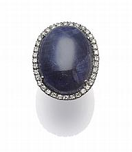 An 18 Carat White Gold Sapphire and Diamond