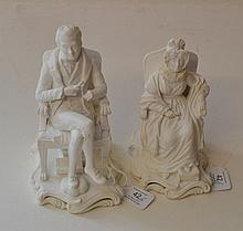 A Pair of Minton Bisque Porcelain Figures of