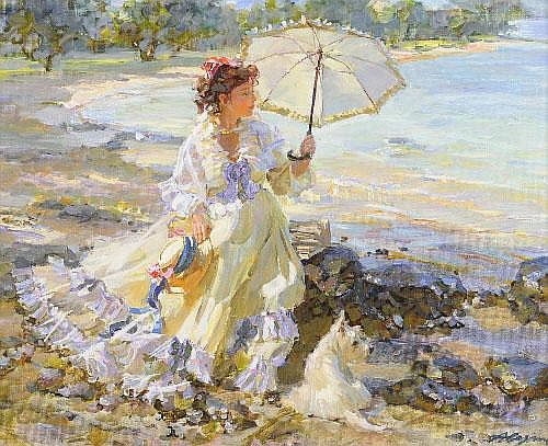 Alexandre Averin (b.1952) Russian Girl wearing a