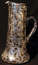 Antique Glass Pitcher w/ Heavy Sterling Overlay