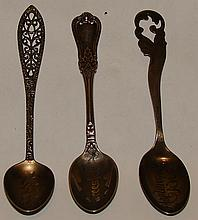 3 Sterling Souvenir Spoons - Worcester , Maplewood