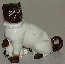 Antique Porcelain Figure - Pug Dog & Pup