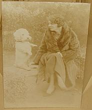 Antique Photograph - Woman w/ White Dog on Wall