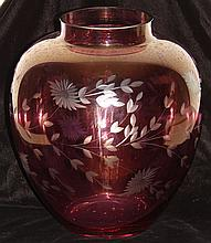 Cranberry Flashed Glass & Wheel Cut Vase - Vintage