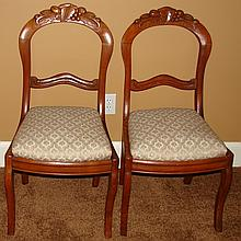 Victorian Fruit Carved Walnut Parlor Chairs - Ca.1