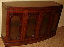 Fruitwood Side Cabinet w/ Glass Doors & Light