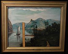 American Folk Art Painting Mountain Landscape Lake