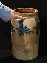 Blue Decorated Stoneware Churn - Maker Unknown