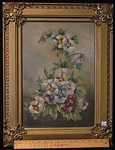 Antique Oil Painting on Artist Board - Pansies