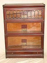 Antique Lawyers / Barristers Bookcase w Lead Glass