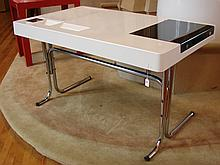 Fiberglass Desk w/ Chrome Metal Legs - Ca. 1970s