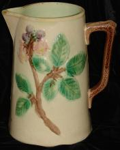Antique Majolica Pitcher - Raspberry (?) Design