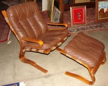 Modern Leather & Bentwood Designer Chair & Ottoman