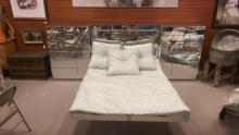 Post Modern Queen Size Mirrored Bed Set