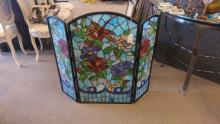 Fine Quality Stained Glass Fire Screen